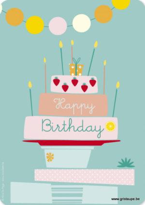 carte postale illustrée par alice de page et éditée aux éditions sur un nuage happy birthday