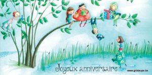 carte postale illustrée par alice de page et éditée aux éditions de cortil joyeux anniversaire