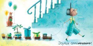 carte postale illustrée par alice de page et éditée aux éditions de cortil joyeux anniversaire train