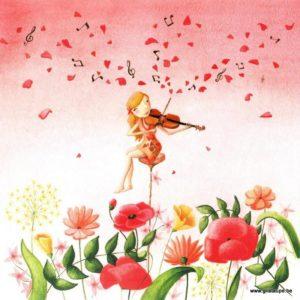 carte postale illustrée par alice de page et éditée aux éditions de mai la violoniste