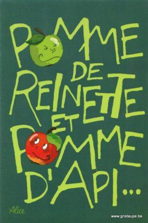 caerte postale illustrée par alice nominé et éditée aux éditions gulf stream pomme de reinnette et pomme d'api