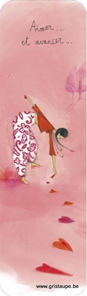 marque page illustré par anne sophie rutsaert et édité aux éditions des correspondances aimer et avancer