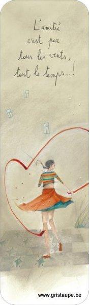 marque page illustré par anne sophie rutsaert et édité aux éditions des correspondances, l'amitié c'est par tous les vents tous le temps