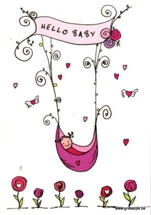 carte postale illustrée par aurélia jacques et éditées aux éditions cartes d'art hello baby fille