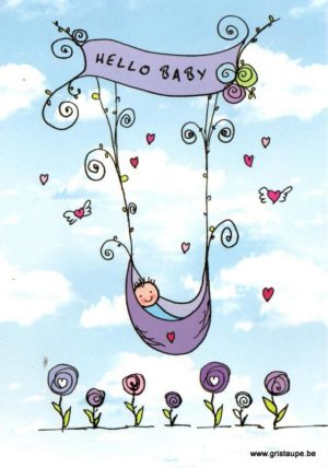 carte postale illustrée par aurélia jacques et éditée aux éditions cartes d'art hello baby garçon