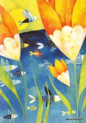 carte postale illustrée par aurélie blanz et éditée aux éditions graetz poissons