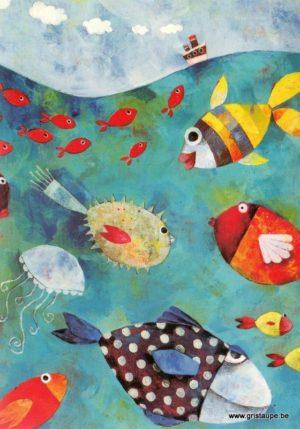 carte postale illustrée par aurélie blanz et éditée aux éditions graetz poissons de mer