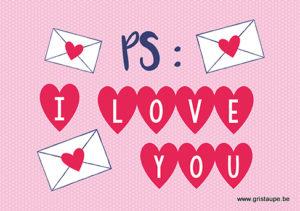 carte postale illustrée et éditée aux éditions kiub I love you