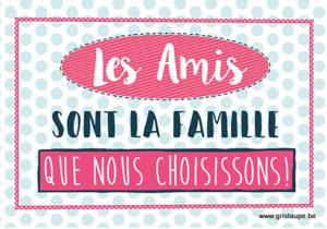 carte postale illustrée et éditée aux édition kiub les amis sont la famille que nous choississons
