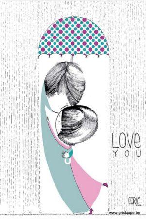 carte postale illustrée par coraline rivière et éditée aux éditions de cortil love you