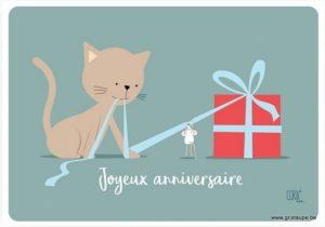 carte postale illustrée par coraline rivière et éditée aux éditions de cortil Joyeux anniversaire cadeau