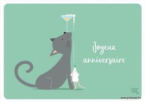 carte postale illustrée par coraline rivière et éditée aux éditions de cortil joyeux anniversaire champagne