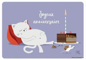carte postale illustrée par coraline rivière et éditée aux éditions de cortil joyeux anniversaire gâteau