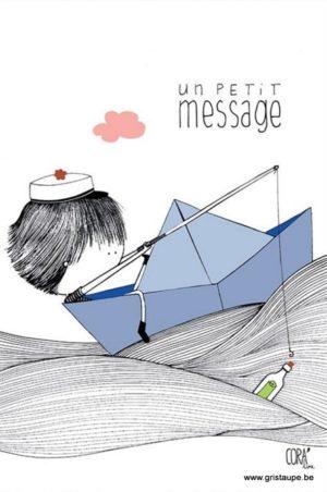 carte postale illustrée par coraline rivière et éditée aux éditions de cortil un petit message