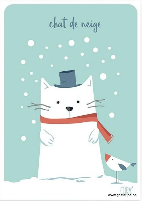 carte postale illustrée par coraline rivière et éditée aux éditions de cortil: chat de neige