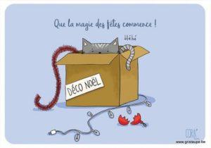 carte postale illustrée par coraline rivière et éditée aux éditions de cortil que la magie des fêtes commence!