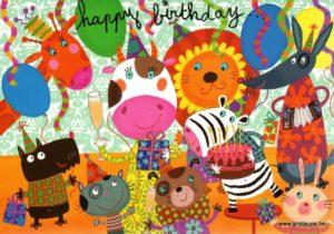 carte postale illustrée par corinne bitler et éditée aux éditions cartes d'art happy birthday