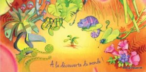 carte postale illustrée par dominique mertens et éditée aux éditions de cortil à la découverte du monde
