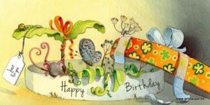 carte postaleillustrée par dominique mertens et éditée aux éditions de cortil Happy birthday