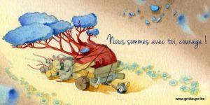 carte postale illustrée par dominique mertens et éditée aux éditions de cortil plus que jamùais à tes côtés