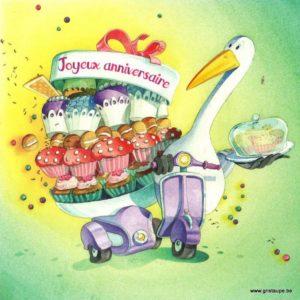 carte postale illustrée par dominique mertens et éditée aux éditions de mai joyeux anniversaire