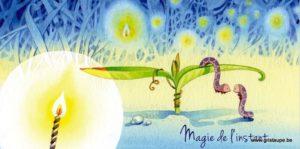 carte postale illustrée par dominique mertens et éditée aux éditions de cortil la magie de l'instant