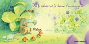 carte postale illustrée par dominique mertens et éditée aux éditions de cortil que le bonheur et la chance t'accompagne