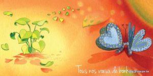 carte postale illustrée par dominique mertens et éditée aux éditions de cortil tous nos voeux de bonheur