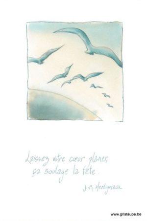 carte postale illustrée par johanna dupont et éditée aux éditions de cortil laissez votre coeur planer