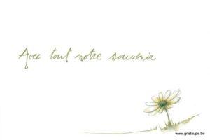 carte postale illustrée par johanna dupont et éditée aux éditions de cortil condoléance avec tout notre souvenir