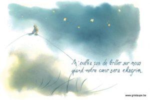 carte postale illustrée par johanna dupont et éditée aux éditions de cortil condoléances n'oublie pas de brille sur nous