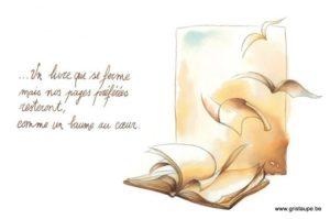 carte postale illustrée par johanna dupont et éditée aux éditions de cortil condoléance le livre se ferme