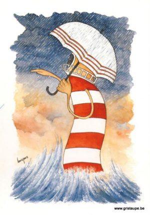 carte postale illustrée par louis pors et éditée aux éditions gulftream goulou sous la pluuiea