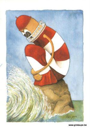 carte postale illustrée par louis pors et éditée aux éditions gulf stream le phare qui a peur de l'eau
