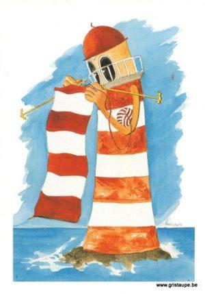 carte postale illustrée par louis pors et éditée aux éditions gulfstream le phare qui tricote