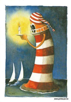 carte postale illustrée par louis pors et éditée aux éditions gulfstream le phare veilleur de nuit