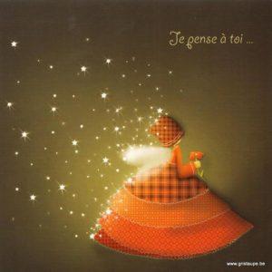 carte postale illustrée par magali roux et éditée aux éditions kiub mille lumières je pense à toi