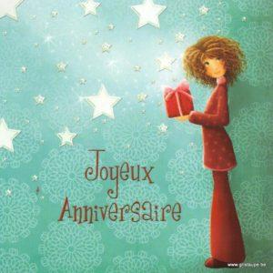 carte postale ilustrée par magali roux et éditée aux éditions kiub mille lumières joyeux anniversaire cadeau