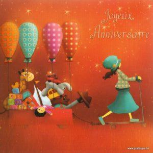 carte postale ilustrée par magali roux et éditée aux éditions kiub mille lumières joyeux anniversaire ballons
