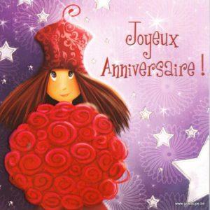 carte postale illustrée par magali roux et éditée aux éditions kiub joyeux mille lumière joyeux anniversaire bouquet de roses
