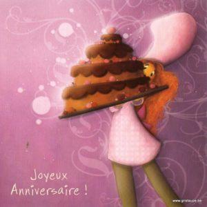 carte postale illustrée par magali roux et éditée aux éditions kiub joyeux anniversaire gateau