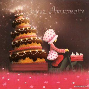 carte postale illustrée par magali roux et éditée aux éditions kiub mille lumières joyeux anniversaire livraison de gâteau