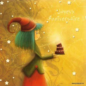 carte postale illustrée par magali roux et éditée aux éditions kiub mille lumières joyeux anniversaire sorcière
