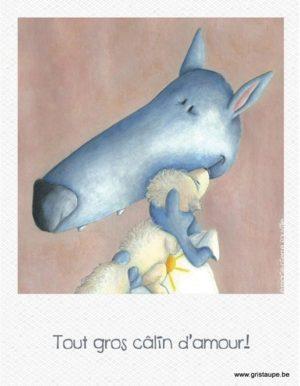 carte postale illustrée par Marie Pierre Fauville et éditée aux éditions de cortil tout gros câlin d'amour