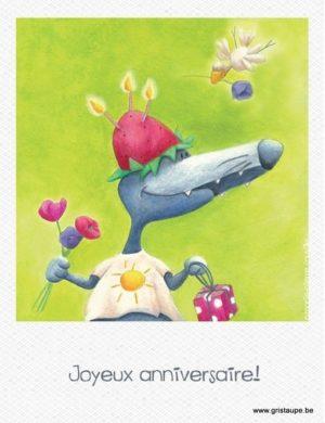 carte postale illustrée par marie pierre fauville et éditée aux éditions de cortil joyeux anniversaire