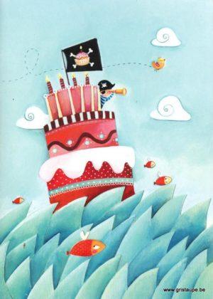 carte postale illustrée par mélanie grand girard et éditée aux éditions gulf stream joyeux anniversaire