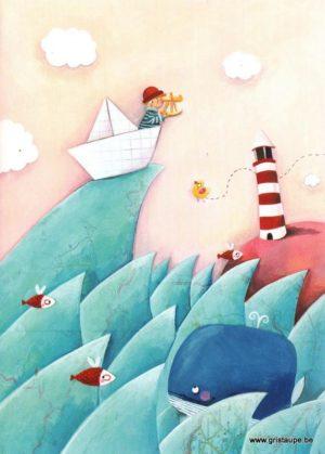 carte postale illustrée par mélanie grandgirard et éditée aux éditions gulf stream le grand départ