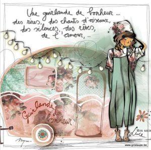 carte postale illustrée par myra vienne mon amie luce et éditée aux éditions de cortil une guirlande de bonheur