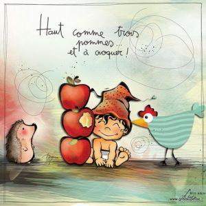 carte postale illustrée par myra vienne et éditée aux éditions de cortil haut comme trois pommes et à croquer