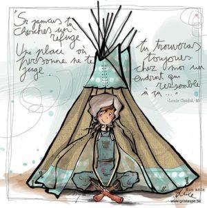 carte postale illustrée par myra vienne et éditée aux éditions de cortil si tu cherches un refuge